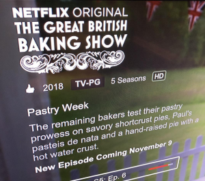Screen Shot of Netflix Change to GBBO title and new season alert.