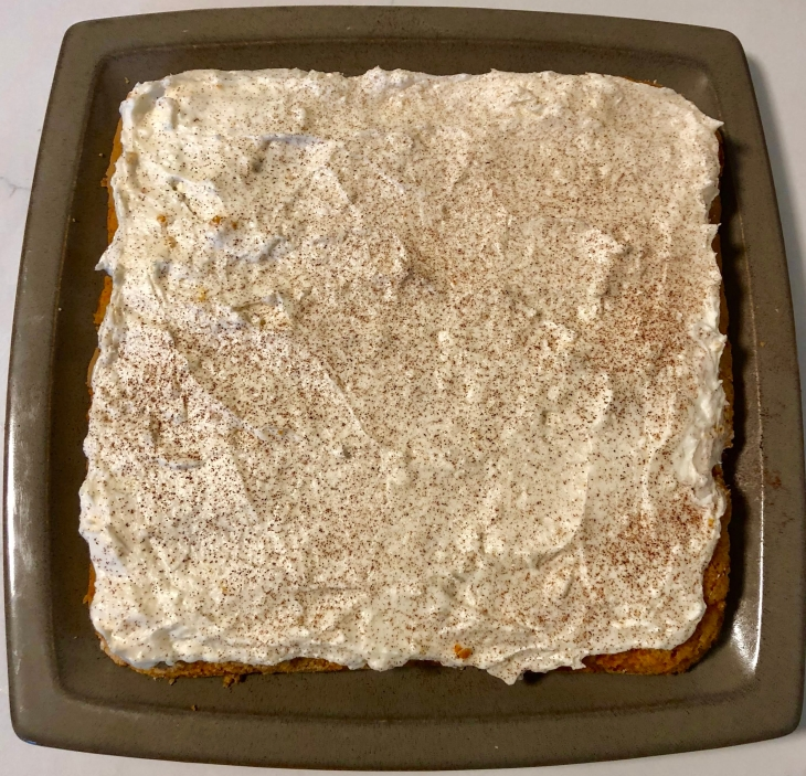 9 x 9-inch carrot cake traybake