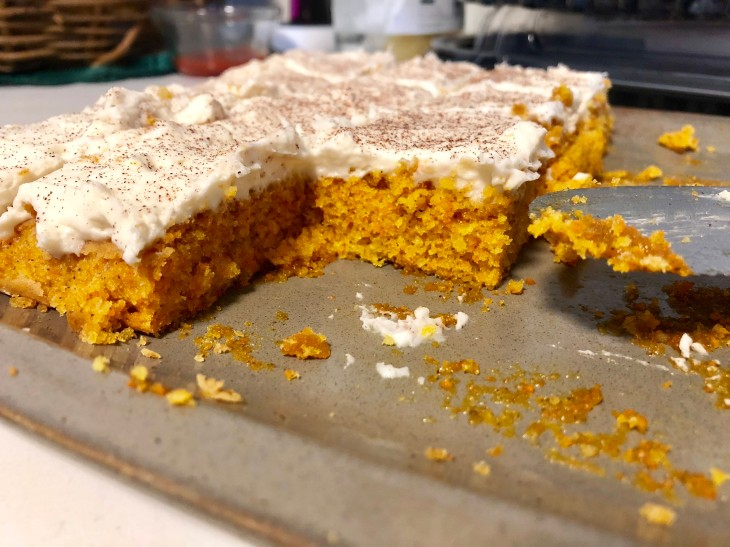 Sliced carrot cake tray bake